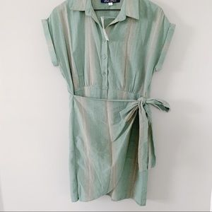 NWT PASTLE GREEN BUTTON AND TIE DRESS